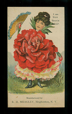 "Red Carnation Lady With A Fan-1885 Victorian ""Flower People"" Trade Card"