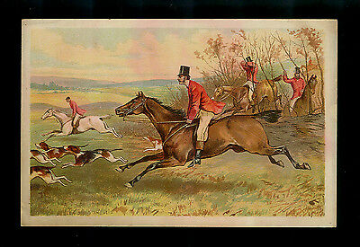 Horseback Hunt Club Follows The Hounds-Excellent Victorian Trade Card
