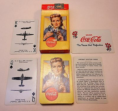 "Vintage Coca Cola 1943 ""Spotter"" Womens Volunteer Service Deck of Playing Cards"