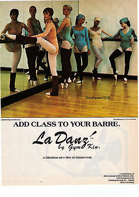 """1979 La Danz by Gym Kin """"Add Class To Your Barre"""" Cecily Hunt Photo Print Advert"""