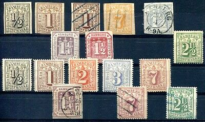 HAMBURG 1859-1867 kleines Lot Mi ca 600€(A8928