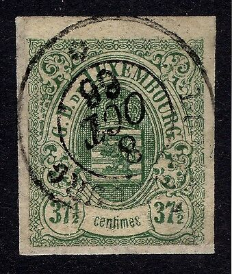 Luxembourg 1859 37.5c Green, Imperf, Scott 11, SG 14, FU (thin), Cat $250