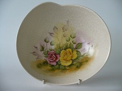 Vintage Art Deco Hand Painted Floral Roses Crown Devon Fieldings Bowl