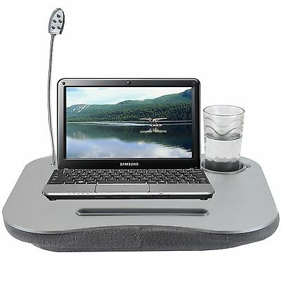 Laptop Cushion Portable Reading Lap Top Tray Table Flexible LED Light Cup Holder