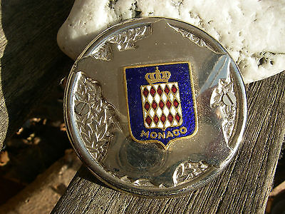 vintage MONACO MONTE-CARLO car grille chrom enamel badge from the 1960´s