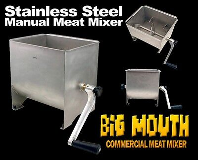 New MTN Commercial Stainless Steel Hand Manual Meat Sausage Mixer 32LBS Tank