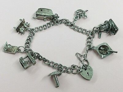 Vintage Sterling Silver Charm Bracelet With 8 Charms 1960