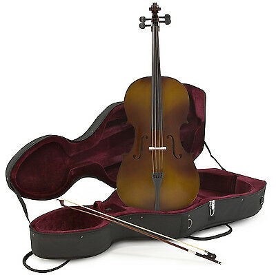 New 1/2 Size Cello with Case and Bow, Antique Fade by Gear4music