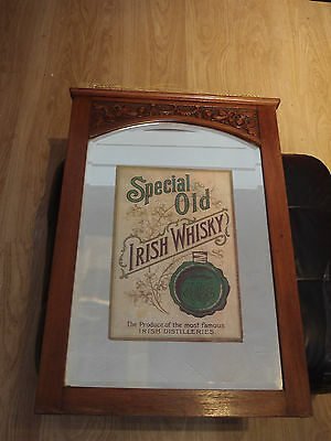 SPECIAL OLD IRISH WHISKY PUB ADVERTISING MIRROR SIGN  not bass 28 x 19 ins