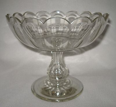 "MID 19TH CENTURY BLOWN & FACET CUT SCALLOPED RIM FLINT GLASS COMPOTE 9-1/8"" dia."
