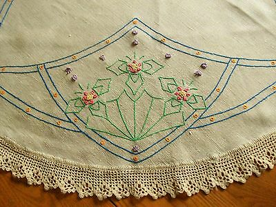 """Lovely Vintage 36"""" Flax Linen Arts & Crafts Tablecloth  ~Hand Embroidery Crochet"""