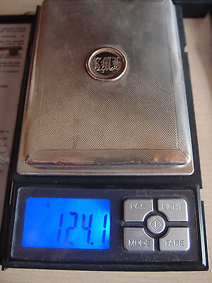 124g FULLY HALLMARKED deco ENGINE TURNED SILVER CIGARETTE BUSINESS CARD CASE