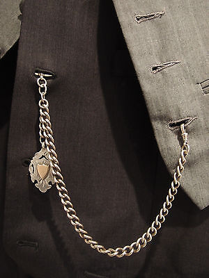 BIRM 1929 HEAVY SILVER ALBERT POCKET WATCH CHAIN 9ct SILVER DOUBLE SIDED FOB 52g