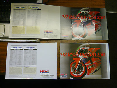 Honda Racing RS 250R/Rs 125 R Motorcycle brochure 1992