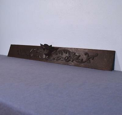 """*44"""" French Antique Hand Carved Architectural Panel Solid Oak with Cat Face"""