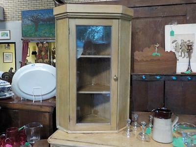 Antique Pine Corner Cabinet With Glass Front Door Wall Mountable Cabinet