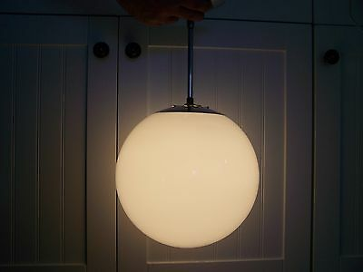 Vintage Mid Century Modern Round White Glass Ceiling Pendant Light Fixture