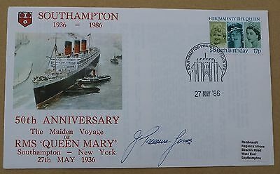 Rms 'queen Mary' 50Th Anniversary Cover Signed By Captain John Treasure Jones