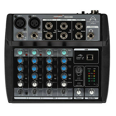 Mixer 6 Canali Wharfedale Pro Connect 802 Usb + Phanton