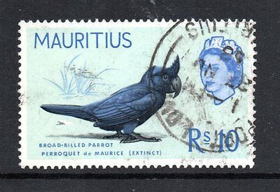 1965 MAURITIUS Rs10 Broad Billed Parrot SG331 - used cv£38