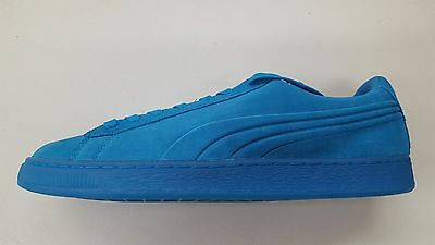 2e521a283c6 Puma Suede Embossed Iced Fluo Atomic Blue Monotone Mens Size Sneakers  361881-03