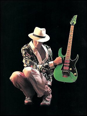 Steve Vai 1991 Ibanez 777 Loch Ness LNG Neon Green guitar 8 x 11 pinup photo