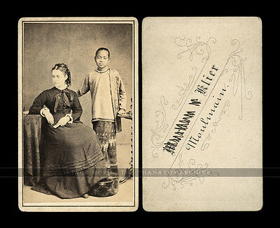 Antique Photo Woman & Burmese Servant Girl / Attendant - Moulmein Burma 1870s