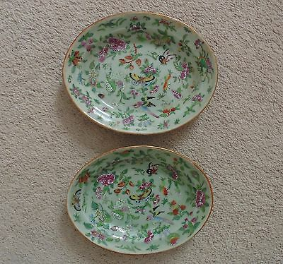 Pair Chinese Celadon Oval Vegetable Plates Rose Medallion Butterflies & Birds