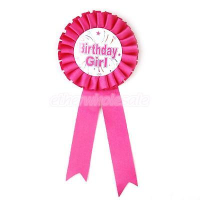 Birthday Girl Prix Ruban Rosette Badge Médaille Party Favor Shocking Rose