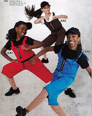 NWT Hiphop Praise overalls 3 colors child/adult zip front tie strap Red Nutmeg