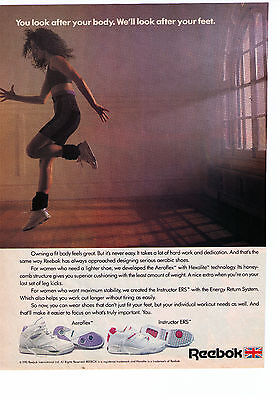 """1990 Reebok Aerobic Shoes """"You Look After Your Body"""" Vintage Print Advertisement"""