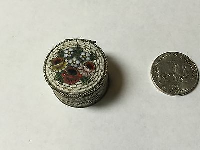 Vintage silver  Pill box inlay lid Reposse