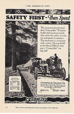 "1926 Caterpillar Tractors ""Safety First Then Speed"" Vintage Print Advertisement"