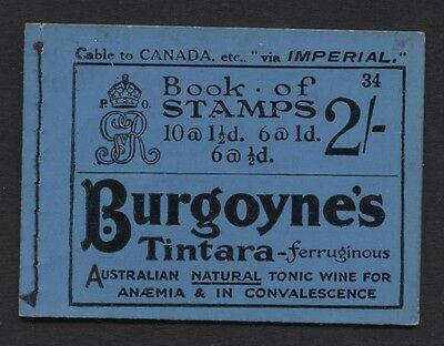 """1924 KGV Block Cypher 2/- Blue """"Skeleton"""" Booklet Edition No 34. BB12"""