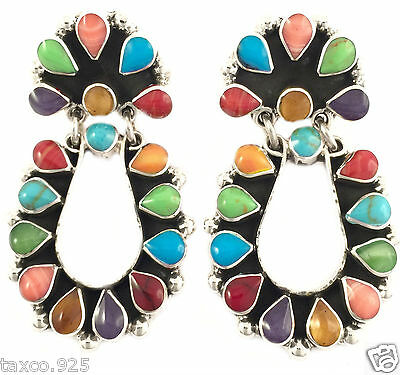 Taxco Mexican 925 Sterling Silver Multi Inlay Floral Flower Hoop Earrings Mexico