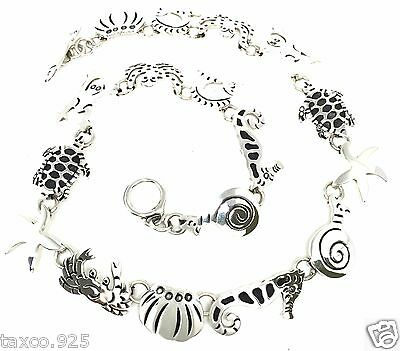 Taxco Mexican 925 Sterling Silver Marine Life Fish Necklace Mexico