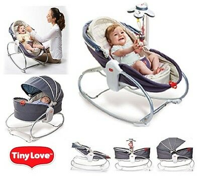 New Tinylove COZY ROCKER NAPPER Baby Safe with Cute Musical Toy Grey-Denim