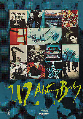 "1992 U2 ""Achtung Baby"" Record Album Trade Print Advertisement"