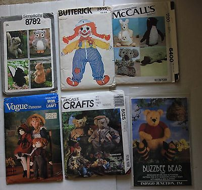 LOT Vogue McCall's Crafts Simplicity Butterick Doll Animal Patterns UNCUT