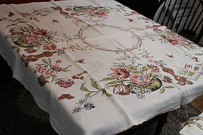 Vintage Linen Tablecloth Fab Posies on off White 48x50