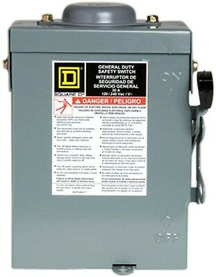 Outdoor Fusible Duty Safety Switch Electric 30 Amp 240-Volt 2-Pole Square D