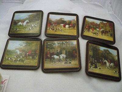 Pimpernel set of 6 English Tally Ho hunting scene coasters in box