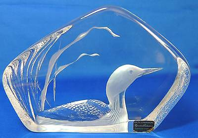BEAUTIFUL CRYSTAL LOON by MATS JONASSON INTAGLIO ART SWEDEN SIGNED and NUMBERED