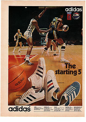 "1970's Adidas Basketball Collection ""The Starting Five"" Shoe Print Advertisement"
