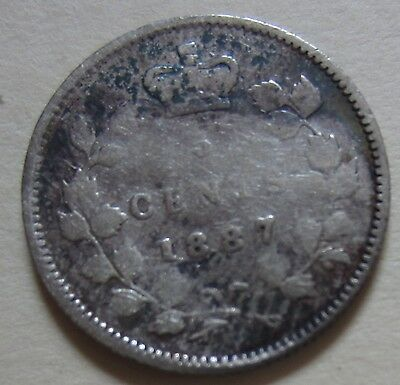 1887 Canada Silver Five Cents Coin. KEY DATE (F342)