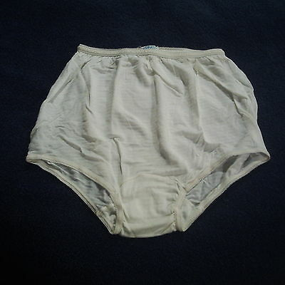 81A Vintage Watson's White Striped Silky Rayon Brief Panties szM Double