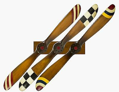 "Wwi Barnstormer 47"" Wood Airplane Plane Propeller Rack Aviation Wall Decor Set"