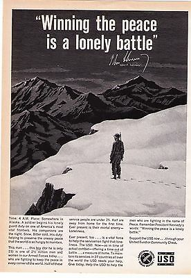 """1960 """"Winning The Peace Is A Lonely Battle"""" JFK USO Vintage Print Advertisement"""
