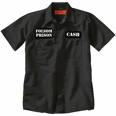 CASH / FOLSOM PRISON Button Up Work SHIRT punk country tattoo Johnny