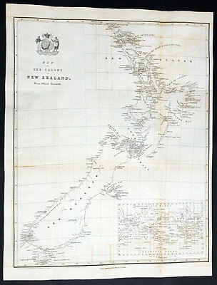1841 The New Zealand Company Large Early Antique Map of New Zealand